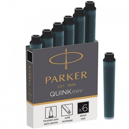 Черные мини картриджи Parker (Паркер) Quink Mini Cartridges Black 6 шт в Казани