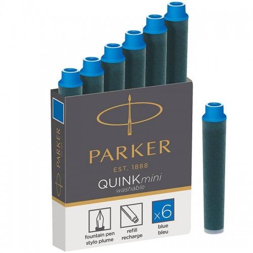 Синие неводостойкие картриджи Parker (Паркер) Quink Mini Cartridges Washable Blue 6шт в Казани