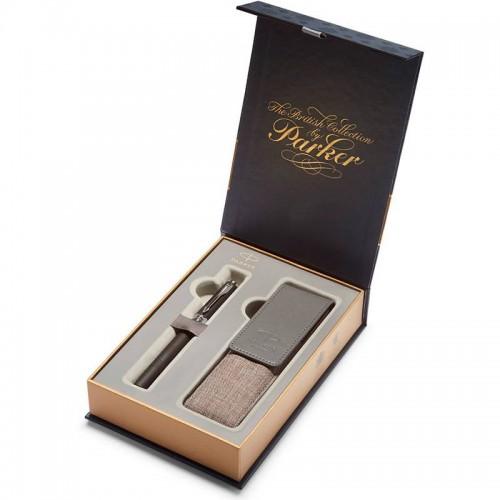 Подарочный набор из ручки Parker (Паркер) 5th Ingenuity Large Black Rubber CT и чехла в Казани