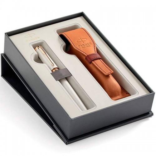 Набор с чехлом из натуральной кожи и ручкой Parker (Паркер) 5th Ingenuity Slim Pearl PGT M в Казани