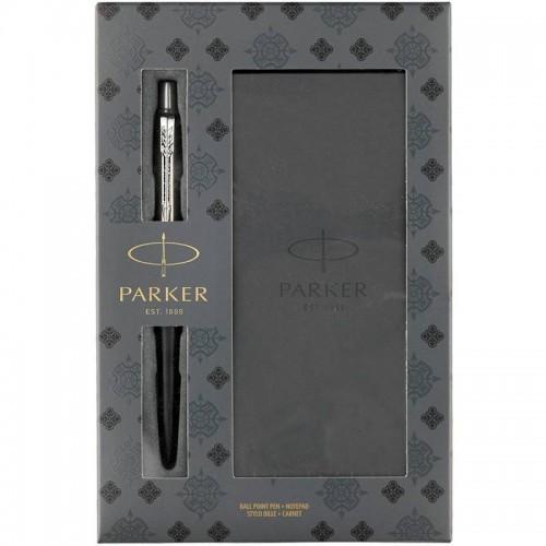 Подарочный набор из шариковой ручки Parker (Паркер) Jotter Core Bond Street Black CT и блокнота в Казани
