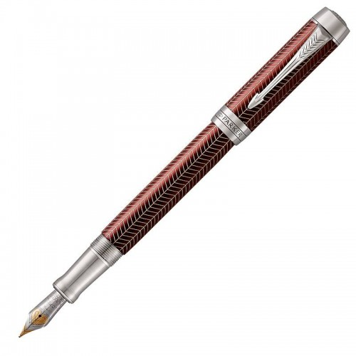 Перьевая ручка Parker (Паркер) Duofold Prestige Centennial Burgundy Chevron CT M в Казани